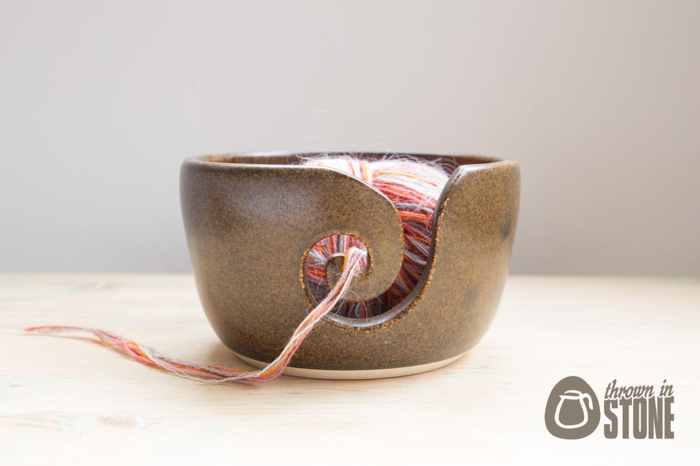 Knitting Bowl Uk : Yarn bowl brown knitting medium sized thrown in