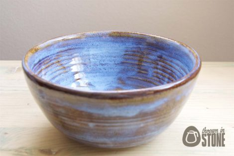 Ice Blue and Tan Stoneware Bowl