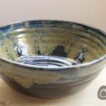 Large Black and Bronze Stoneware Bowl