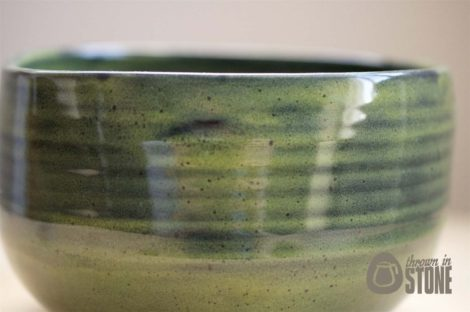 Green handmade bowl - close up