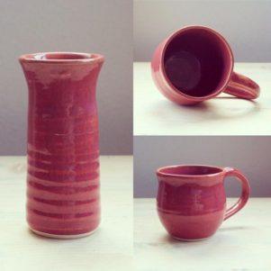 Purple vase and mug