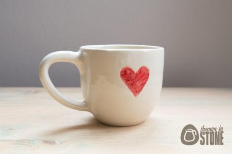 Cream Heart Mug