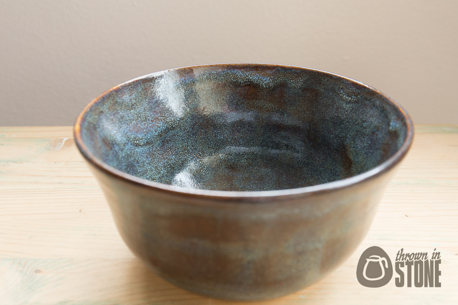 Decorative Bowl Blue And Brown Stoneware Home Decor