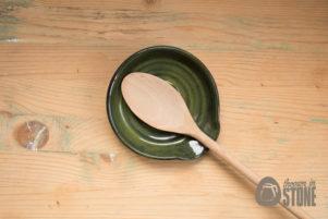 Dark Green Stoneware Spoon Rest