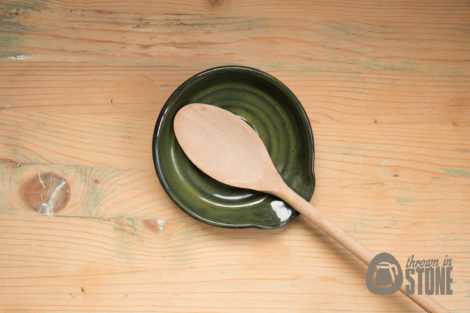 Dark Green Stoneware Spoon Rest